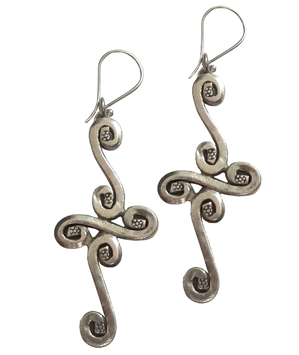Welcome Free Shipping WEIGHT 15.01 G BEAUTIFUL THAI KAREAN HILL TRIBE SILVER EARRING BY HAND MADE{ KAREAN EARRING BOX/_4/_1772 }