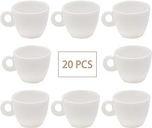 AUEAR, 20 Pack Dollhouse Mini Coffee Mug Tea Miniatures White Coffee Cup Food Kitchen Room Dollhouse Decoration Accessories