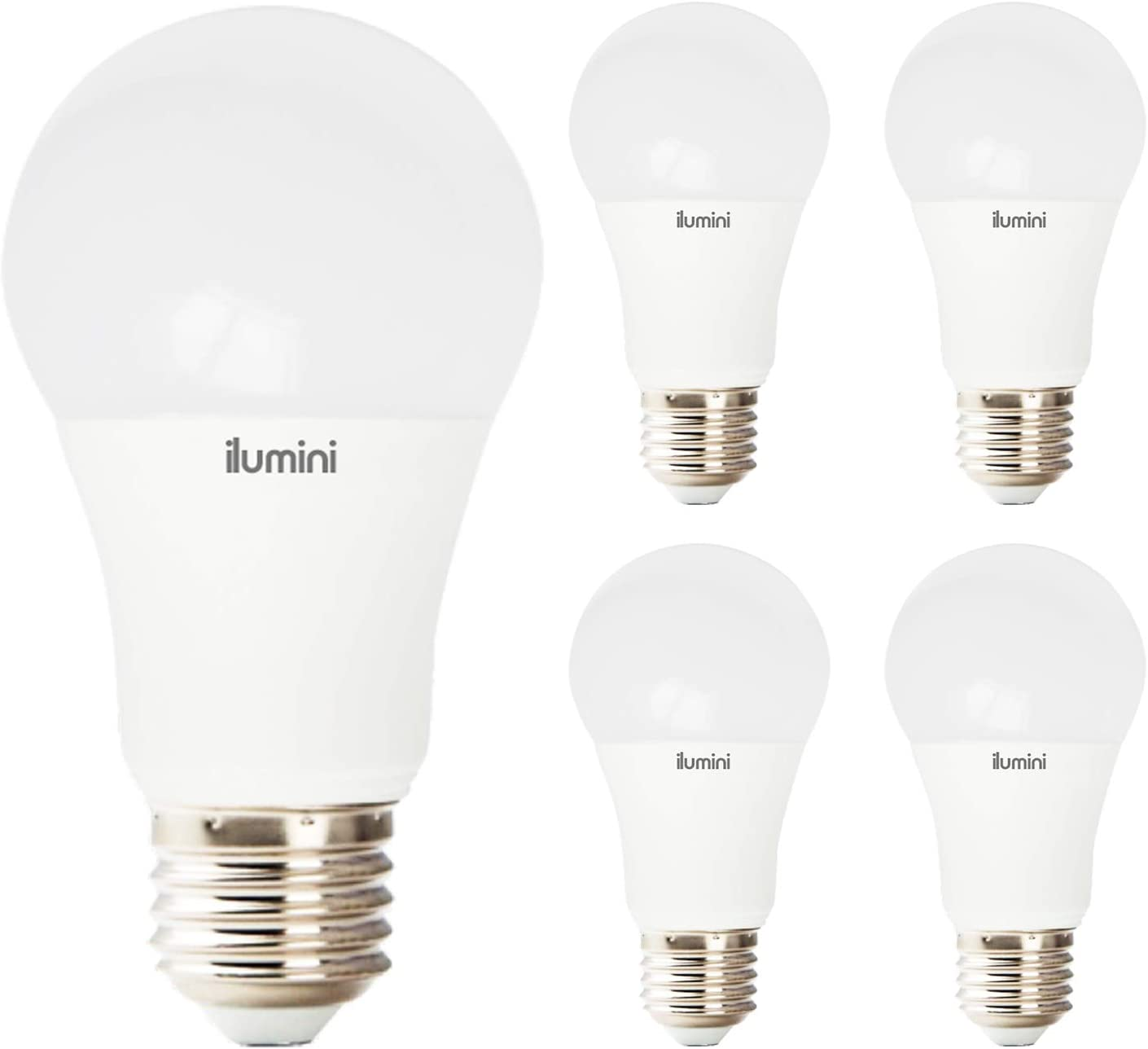 ILUMINI Bombillas LED A60 Estandár, Casquillo E27,10W equivalente a 70w, 3000K Luz Cálida, 950 Lúmenes [Clase de eficiencia energética A+] PACK DE 5