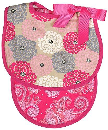 - Raindrops Floral Bib and Burp Set, Hot Pink