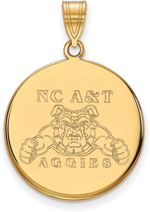 Gold-Plated Sterling Silver North Carolina A/&T Large Disc Pendant by LogoArt