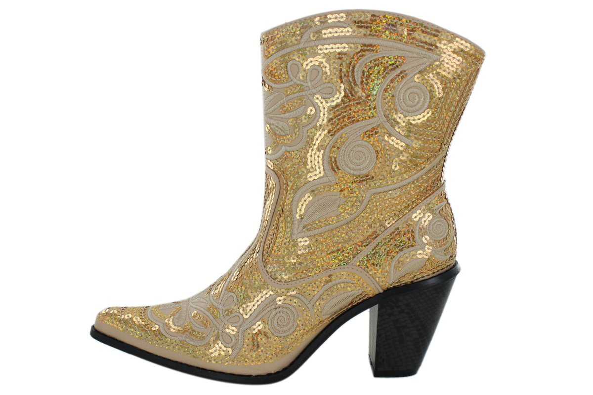 Helens Heart Short Women's Sparkle Sequin Bling Short Heart Western Cowgirl Boots B00B04P0WS 10 B(M) US|Gold 315712