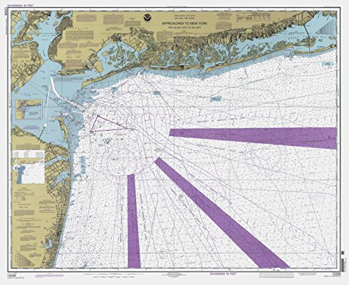 Map | Approaches To New York - Fire Island Light To Sea Girt, 2000 Nautical NOAA Chart | New Jersey, New York (NJ, NY) | Vintage Wall Art | 24in x 18in