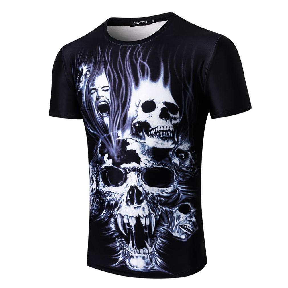 Longra T-Shirt Damen Herren Shirt Feuer Schauml;del Print-Shirts 3D Druck Tees Shirt Kurzarm T-Shirt Bluse Tops Unisex Rundhals Coole T Shirts Mode Hip Hop Bluse Hemd Streetwear  S|Multicolor 02