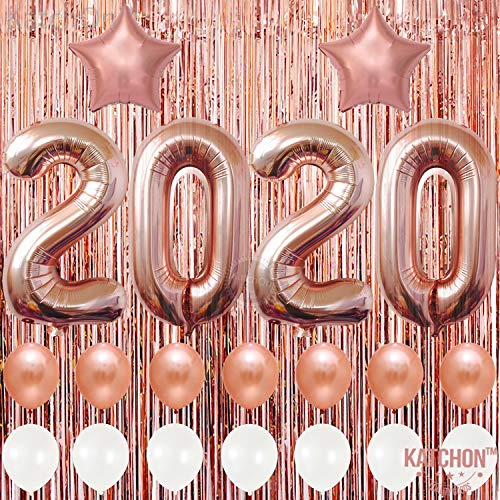 2019 Balloons, Rose Gold for New-Year, Rose Gold Metallic Foil Fringe Backdrop   Rose Gold Balloons   New Years Eve Party Supplies 2019, Graduations Party Supplies 2019, New Years Party Decorations