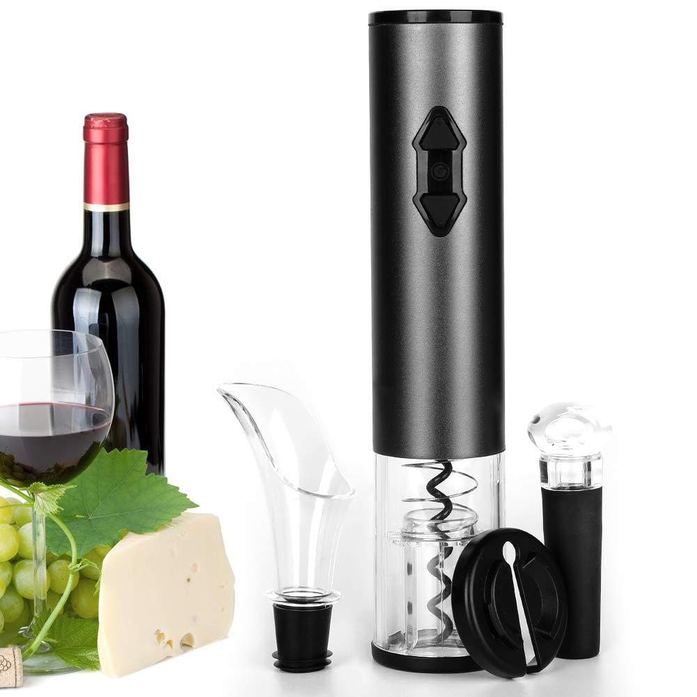 Electric Wine Opener,DEKINMAX Cordless Automatic Wine Bottle Opener Corkscrew Wine Opener Set-With Foil Cutter/Wine Aerator Pourer/Vacuum Stopper/Batteries Included(Battery Gray) by DEKINMAX