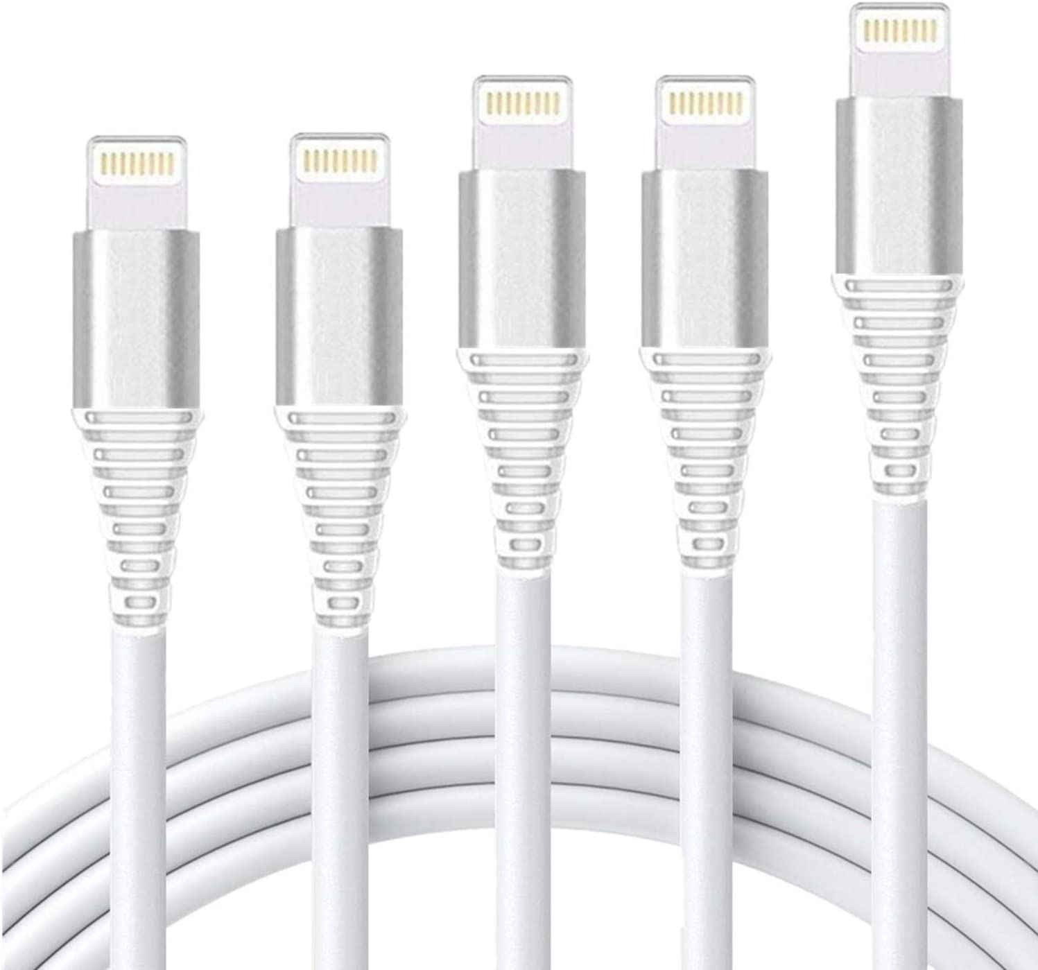 iPhone Charger Cable 5Pack 3FT/6FT/10Feet ROSYCLO MFi Certified Lightning Cord Metal Nylon USB Fast Charging Cord Long Data Line Wire Compatible iPhone11ProXS/Max/XR/X/8/7plus/6S/iPad/iPod/IOS Silver