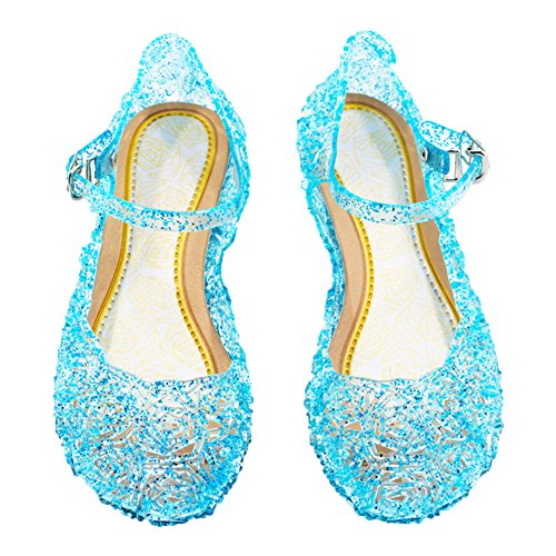 Cinderella Baby Girls Soft Crystal Plastic Shoes Children's Princess Shoes(Toddler/Little Kid) Blue -