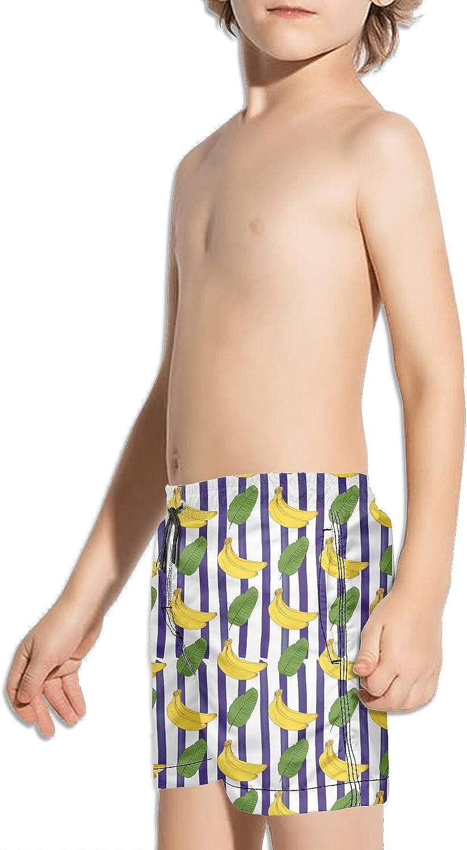 LKIMNJ Boys Swim Trunks Banana Tree Banana Leaves Quick Dry Comfortable Beach Board Shorts