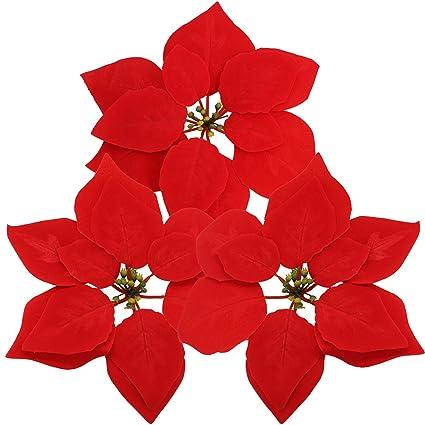 Amazon Supla 30 Pcs Velvet Poinsettia Flower Heads 83 Bloom