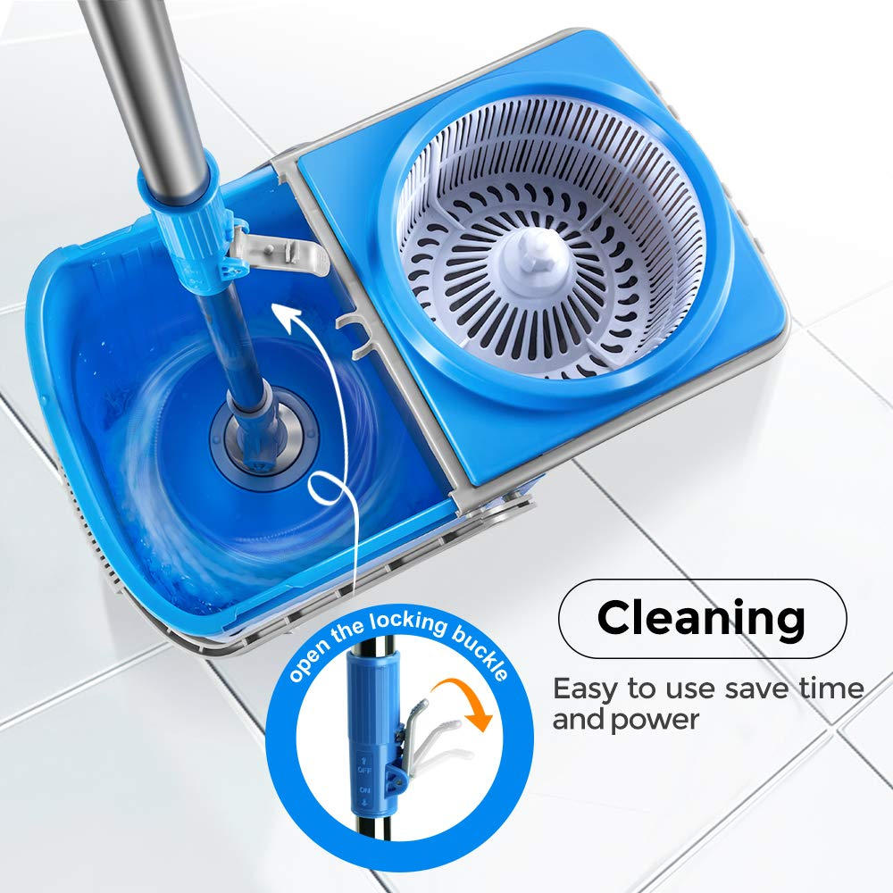7L Compact Folding Spin Mop with 3Pcs Refill Microfiber Mop Head Double Drive 360 Rotating Magic Bucket Set with Drain Hole