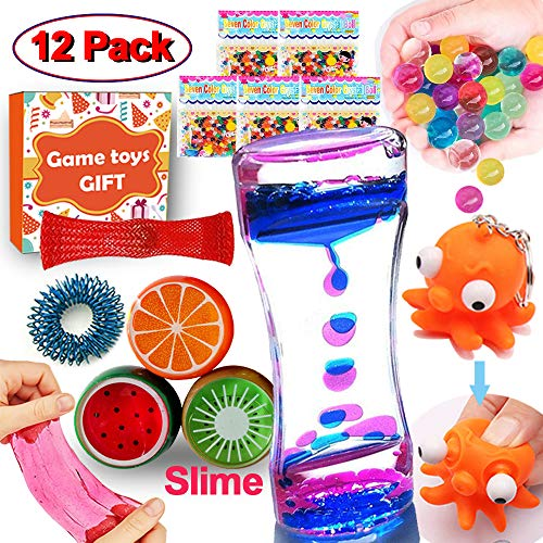 12 Pack Sensory Fidget Stress Relief Christmas Party Favor for Kids Birthday Gift Idea Adults Hand Toys DIY Game with Liquid Motion Timer Water Beads 5 Slime 3 Mesh Marble Metal Finger Ring Autistic