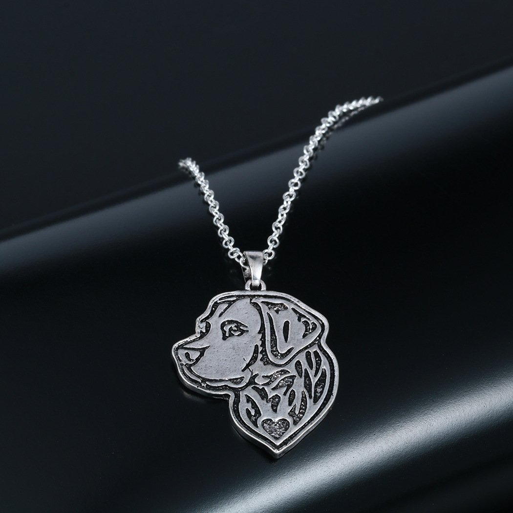 Sterling Silver Plated White Labrador Dog Charm Animal Pendant Necklace
