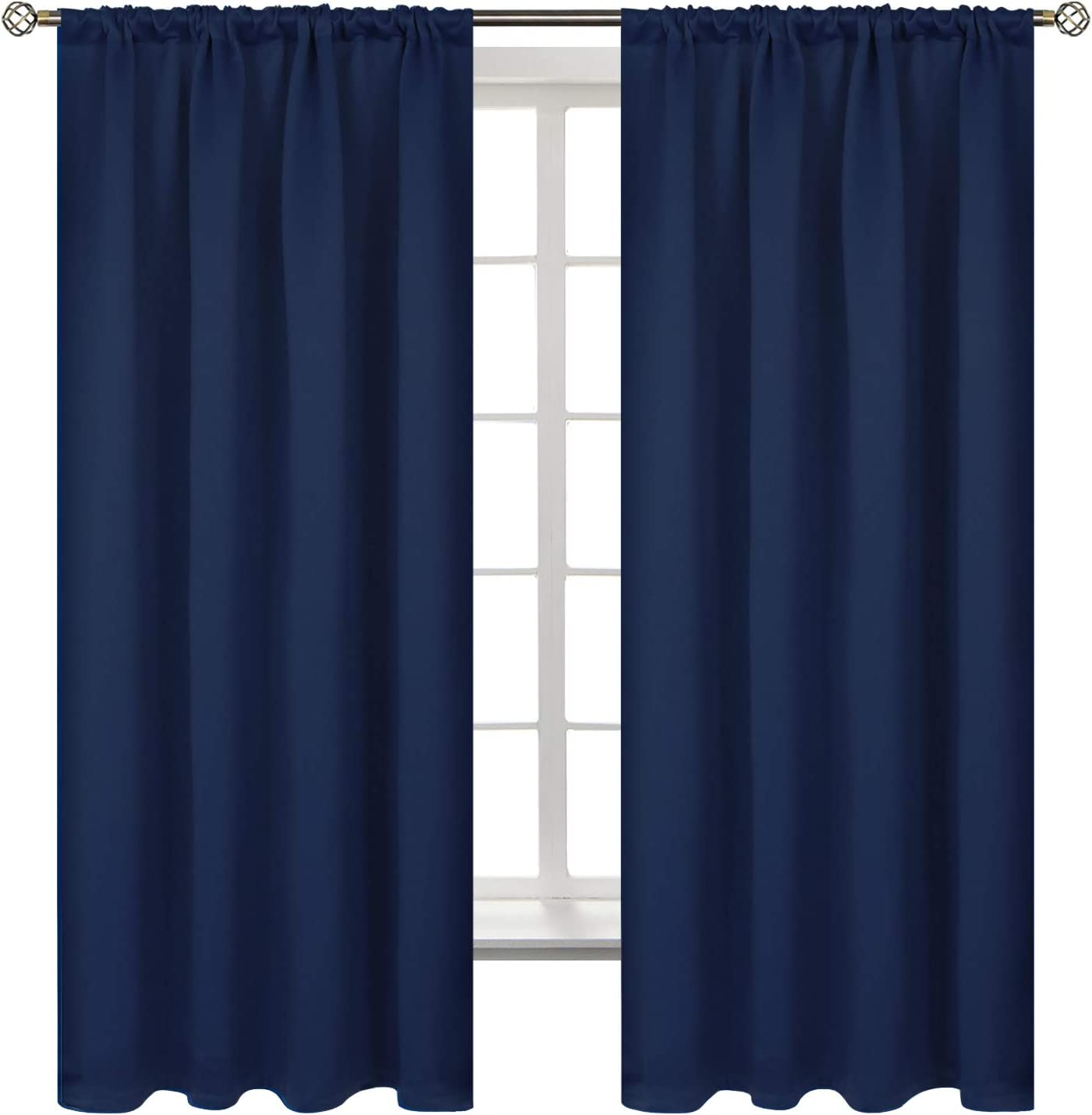 BGment Rod Pocket Blackout Curtains for Bedroom - Thermal Insulated Room Darkening Curtain for Living Room, 52 x 63 Inch, 2 Panels, Navy Blue
