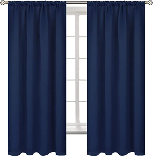 BGment Rod Pocket Blackout Curtains for Bedroom – Thermal Insulated Room Darkening Curtain for Living Room, 52 x 63 Inch, 2 Panels, Navy Blue