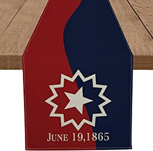 Artoid Mode June 19th 1865 Table Runner, Juneteenth Black Lives Matter African Freedom Kitchen Dining Table Decoration for Home Party Decor 13 x 72 Inch