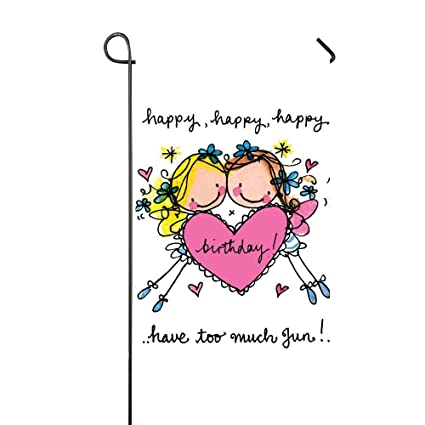 afagahah twins happy birthday sweet heart girls home garden flag decor double sided celebrate seasonal