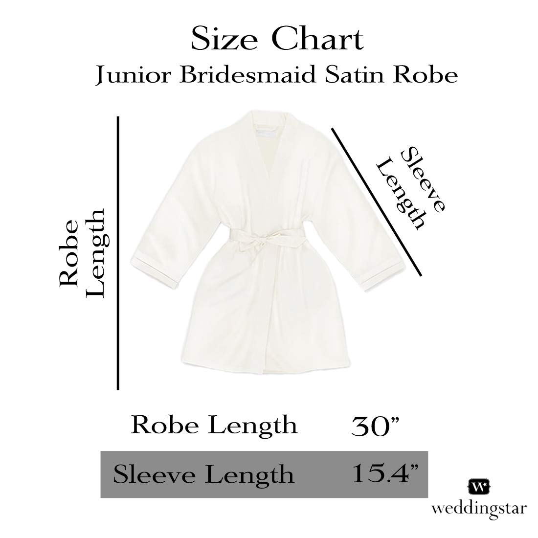 Personalized Junior Bridesmaid Satin Robe with Pockets with Customizable Monogram Perfect Bridal Gift by Weddingstar White
