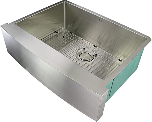 Transolid DUSSF302210 Diamond Apron-Front Single Bowl 16-Gauge Stainless Steel Kitchen Sink, 30-in x 22-in x 10-in, Brushed Finish