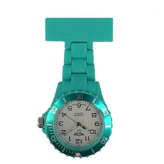 Prince NY London goma unisex - Reloj de bolsillo para Enfermeras En Color Turquesa y Blanco cara color giratoria con 3d marcapáginas Combo se vende por ...
