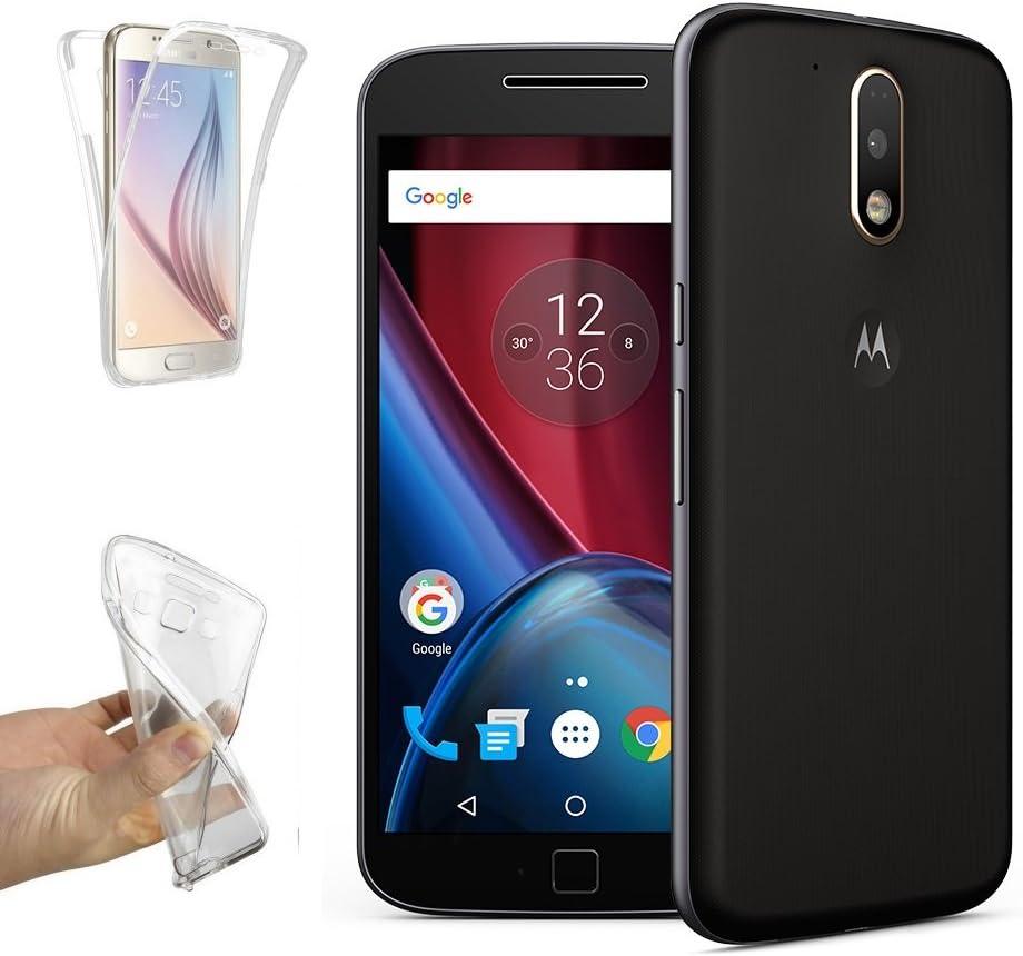 REY Funda Carcasa Gel Transparente Doble 360º para Motorola Moto G4 Plus, Ultra Fina 0,33mm, Silicona TPU de Alta Resistencia y Flexibilidad: Amazon.es: Electrónica