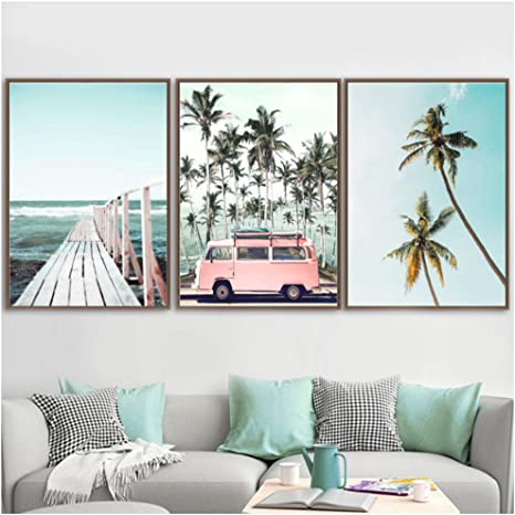 Beach Wall Art Set of 6 Gallery Coastal Set Boho Beach Wall Art Surf Wall Art Modern Surf Board Print Wall Surfing Ocean Palm Tree Print