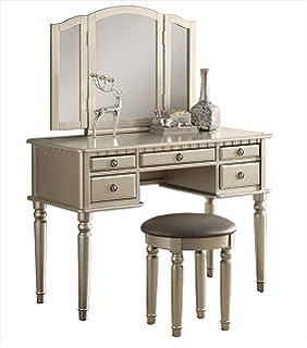 Amazon.com: Vanity Set with Mirror and Stool Vintage Antique Makeup ...