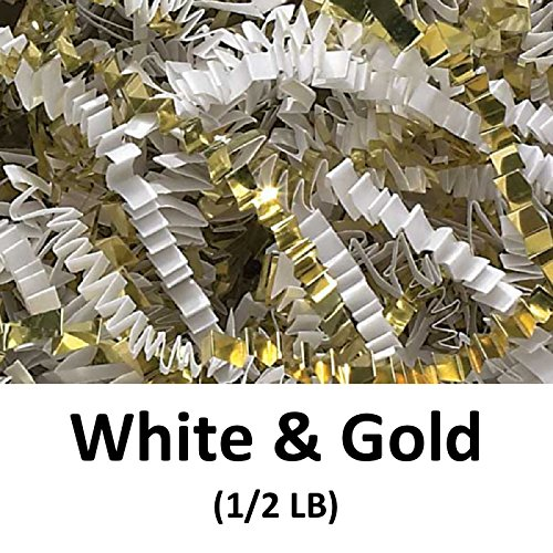 Crinkle Cut Paper Shred Filler (1/2 LB) for Gift Wrapping & Basket Filling - White Gold | MagicWater Supply