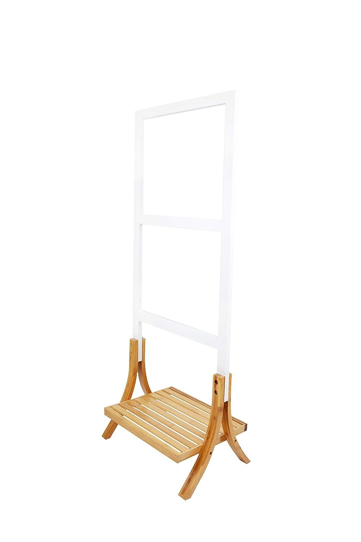 Zedelmaier Bambus Handtuchst/änder mit 3 Handtuchstangen Bambus MDF Wei/ß 103 x 41 x 26,5 cm