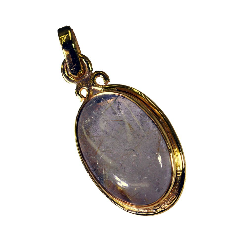 Genuine Rutile Quartz Gemstone Gold Plated Pendant For Women Handmade Oval Jewelry Necklace Astrological