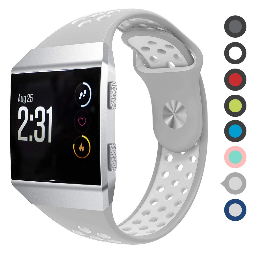 Meifox Compatible with Fitbit Ionic Bands,Soft Silicone Replacement Strap Accessory Breathable Wristbands for Fitbit Ionic Smart Watch (Gray White, ...