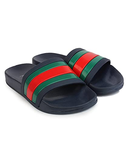 885a8f836b2a INF Black Green Rubber Men s Sliders Slippers (7 UK)  Buy Online at Low  Prices in India - Amazon.in