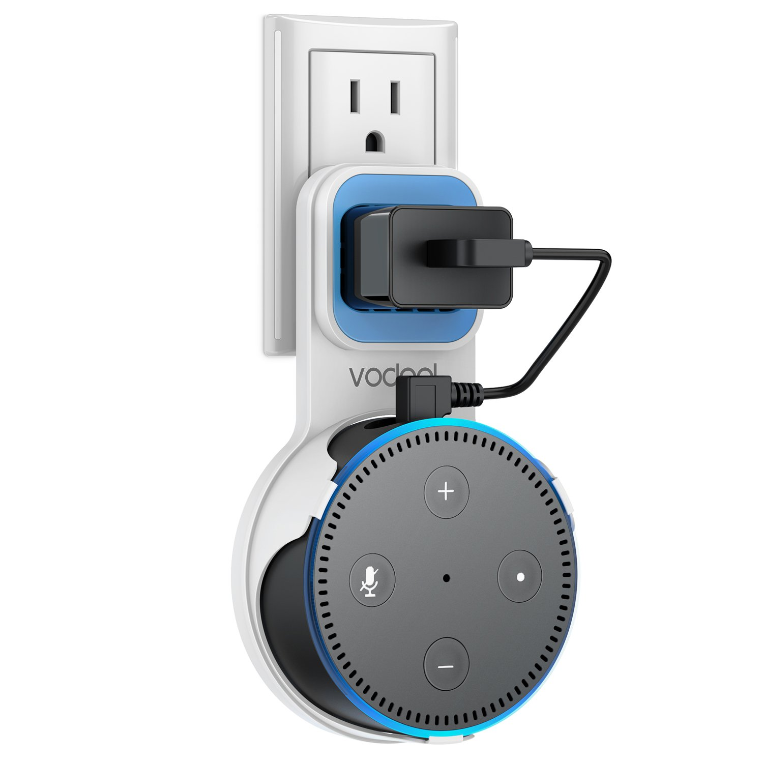 Wall Mount Stand for Echo Dot 2nd Generation, Vodool Hanger Holder Space-Saving Solution for Your Smart Home Dot without Messy Wires or Screws, Charging Cable Provided (White)
