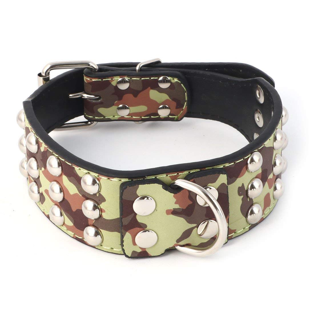 Faux Leather Outdoor Spiked Rivets Camouflage Pattern Design Pet Pitbull Dog Cat Collar