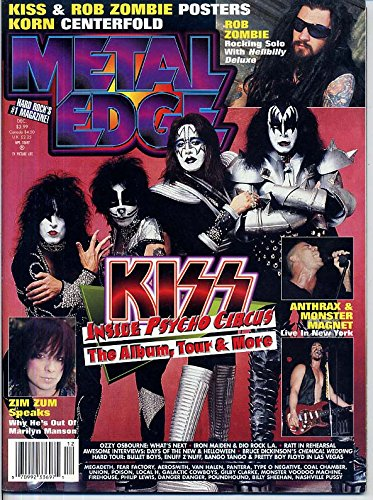 1998 Collectors Edge - Metal Edge Magazine KISS Ozzy Osbourne ROB ZOMBIE Korn RATT Zim Zum HELLOWEEN Anthrax BRUCE DICKINSON December 1998 C