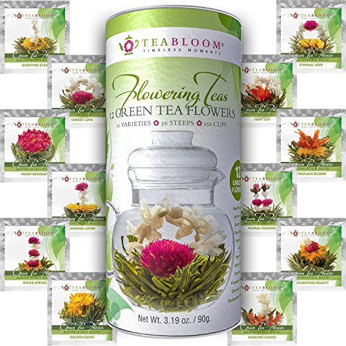 Teabloom Natural Flowering Tea - 12 Unique Varieties of Blooming Tea Balls - Hand-Tied Green Tea & Edible Flowers - 12-Pack Gift Canister - 36 Steeps, Makes 250 Cups (Blooming Flowering)