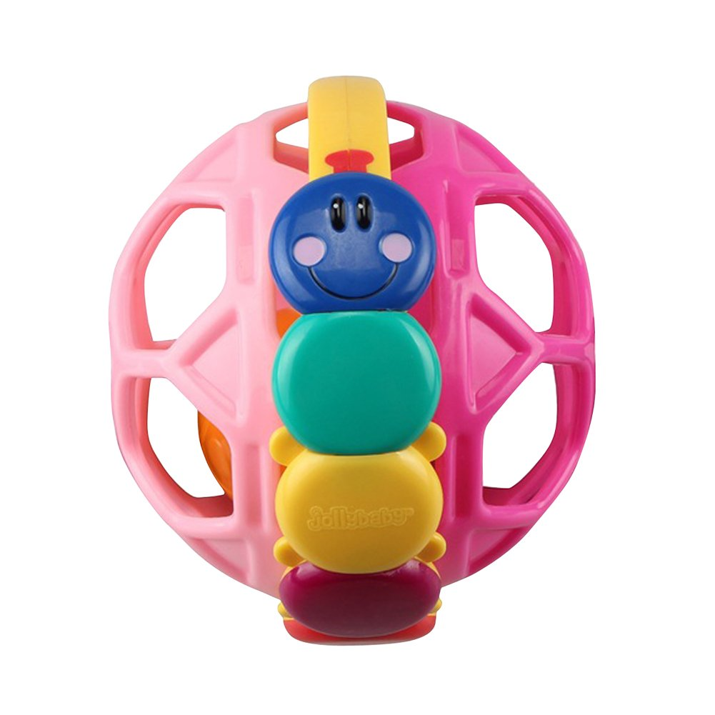 Genda 2Archer Baby Teether Bendy Rattle Ball Caterpillar Activity Toy with Holes(Pink)