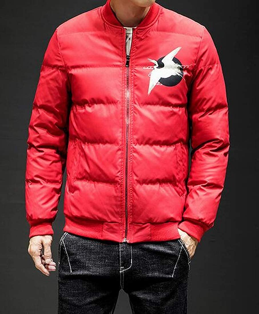 SHOWNO Men Loose Zip Front Chinese Style Winter Floral Quilted Jacket Coat Outerwear