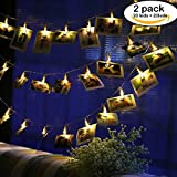 accmor 2 x 20 Photo Clips String Lights/Holder, Rose Gold Metal Wall Decor Geometric Boho Fairy Lights for Hanging Photos Pictures Cards and Memos, Indoor Dorms Bedroom Decoration (Warm White)