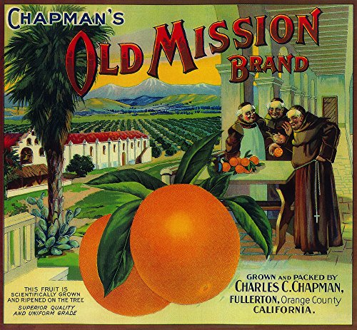 Old Mission Orange - Vintage Crate Label (16x24 SIGNED Print Master Giclee Print w/Certificate of Authenticity - Wall Decor Travel Poster) ()