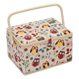 Hobby Gift MRL/29 Owl Print on Natural Large Sewing Box/Organiser 23½x31x20cm
