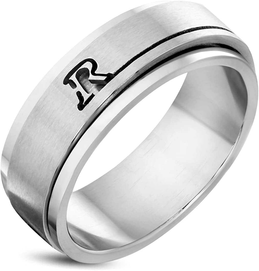 Stainless Steel Cut-out Alphabet R Spinning Flat Band Ring