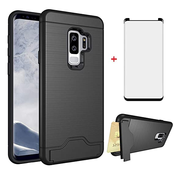 new arrivals 4fb27 6bc40 Samsung Galaxy S9 Plus Wallet Cell Phone Case with Tempered Glass Screen  Protector Cover Friendly Accessories Credit Card Holder Hard Stand  Kickstand ...