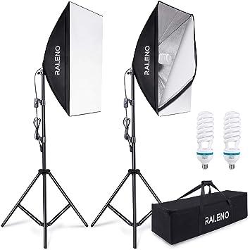 Imagen deRaleo Softbox - Juego de 2 Softboxes de luz Continua para Estudio fotográfico, Caja de luz con 85 W, 5500 K, trípode y Bolsa de Transporte