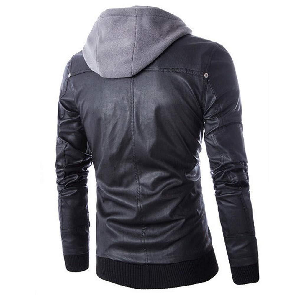 Amazon.com: Hoshell Men PU Faux Leather Jacket Black Hood Motorcycle Bomber Fashion Slim Fit: Clothing
