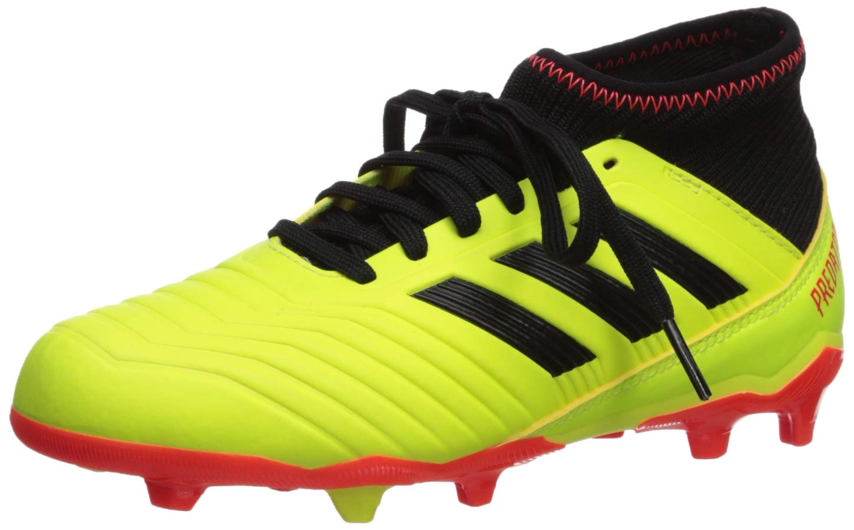 adidas Unisex Predator 18.3 FG J Running Shoe, Yellow/core Black/Solar red, 2 M US Big Kid