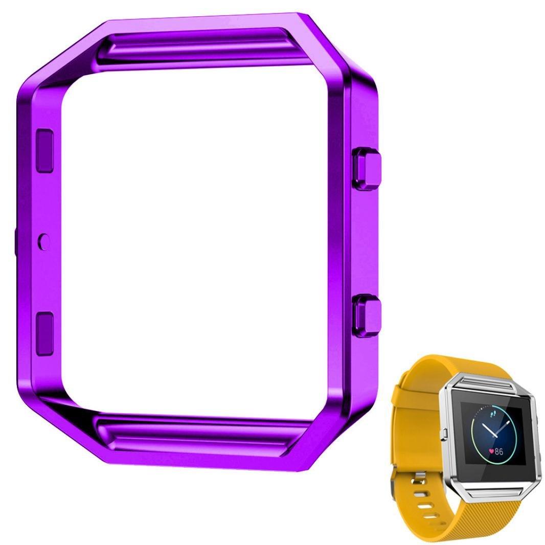 Egmy Fitbit Blazeスマート時計LuxuryステンレススチールWatch交換メタルフレーム時計ホルダーSmart Fitness Watch  パープル B01IBT05OW