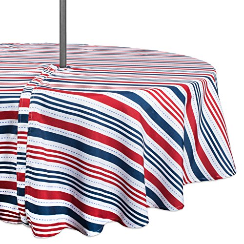DII Summer Tablecloth, Spill Proof and Waterproof for Outdoor/Indoor Use with Zipper and Umbrella Hole, Host Backyard BBQs & Family Gatherings - (52