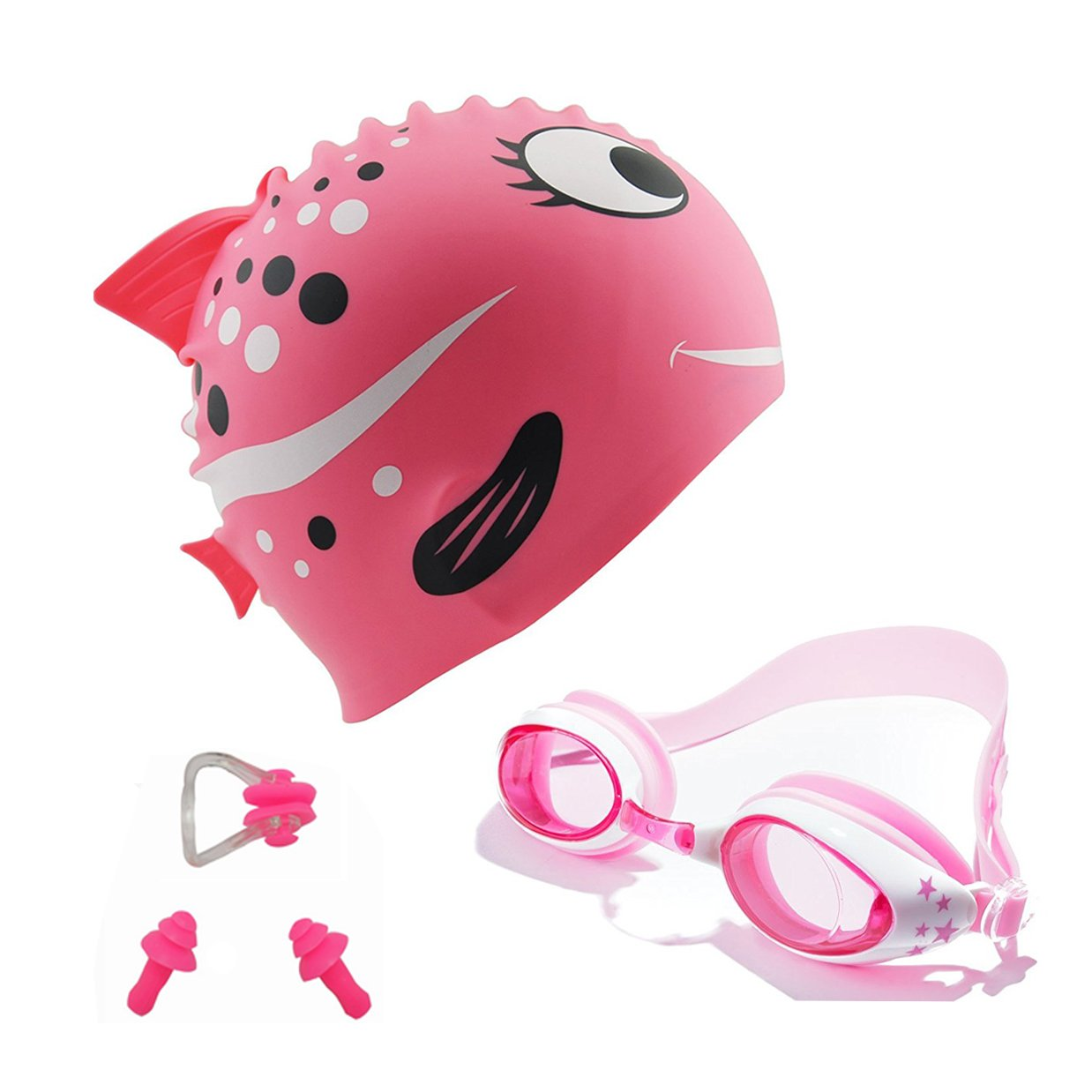 AmeiTech Kids Swim Cap,Cute Design Kids Fun Silicone Swim Caps - Swim Goggles with Nose Clip and Ear Plugs for Boys and Girls - Pink
