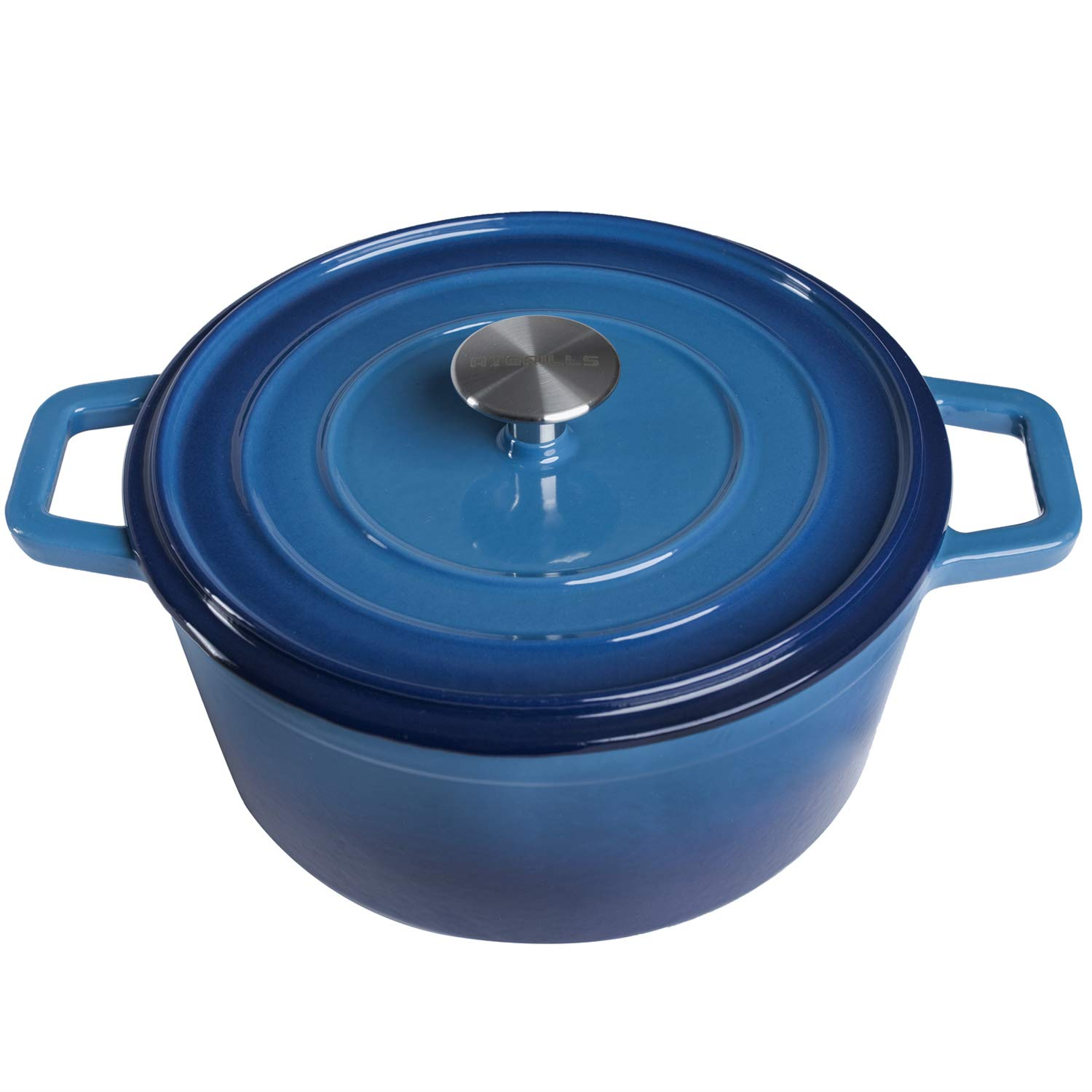 Enameled Cast Iron Dutch/French Oven, 4.5-Quart Round Dutch Oven with Self Basting Lid & Stainless Steel Knob, Electric Gas Stove Top Compatible Cookware, Gradated Blue (IR100-Blue, 4.5qt)